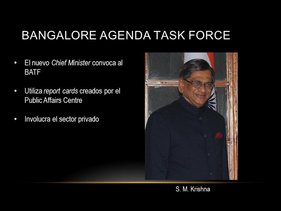 BANGALORE AGENDA TASK FORCE El nuevo Chief Minister convoca al BATF Utiliza report cards creados por el Public Affairs Centre Involucra el sector privado S.