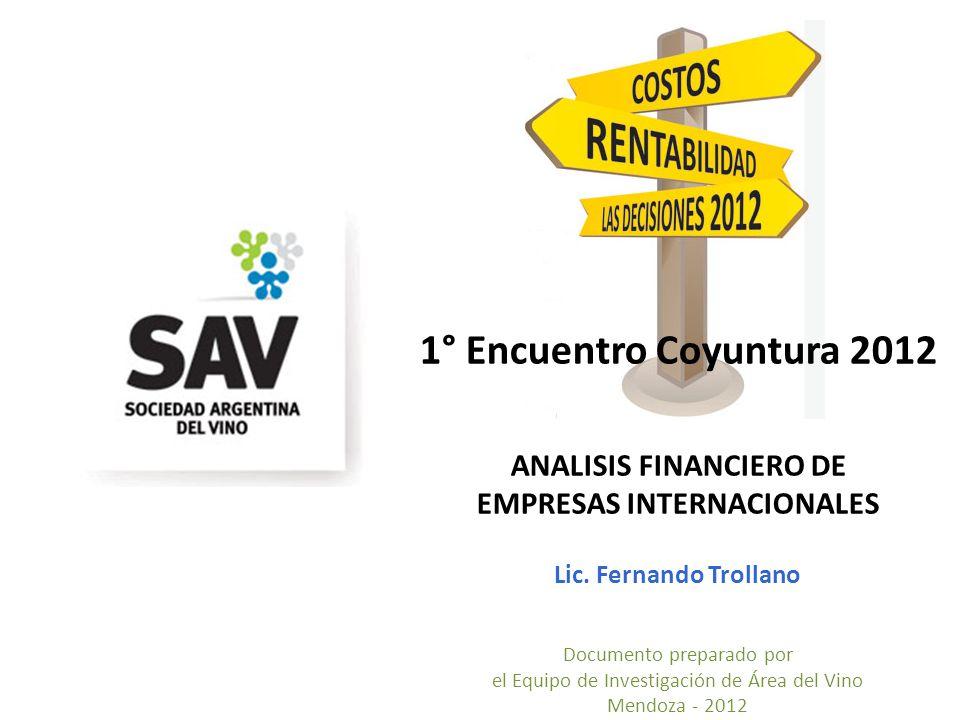 1° Encuentro Coyuntura 2012 ANALISIS FINANCIERO DE EMPRESAS INTERNACIONALES Lic.