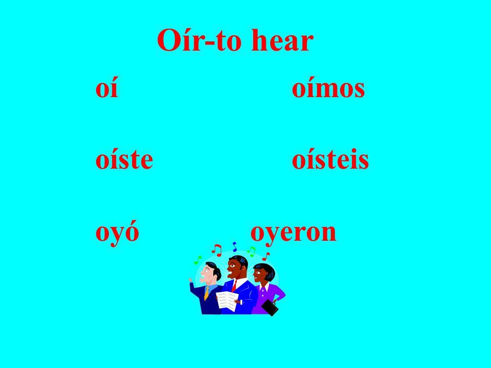 Oír-to hear oíoímos oísteoísteis oyó oyeron