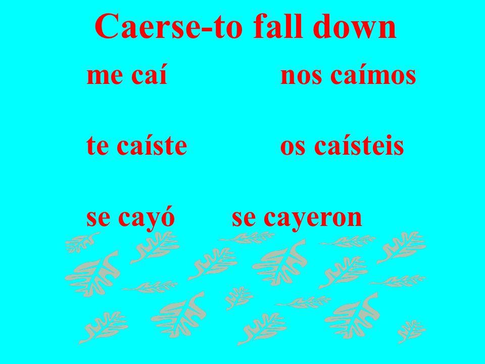 Caerse-to fall down me caínos caímos te caísteos caísteis se cayóse cayeron