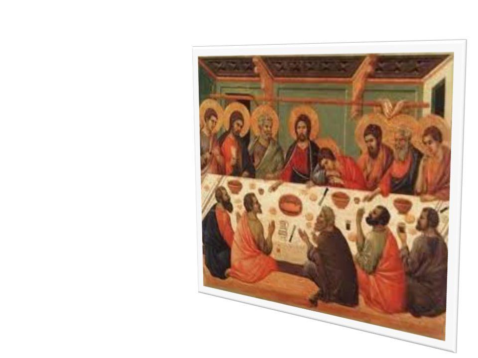 2. Cuando llegó la hora, se puso a la mesa con los apóstoles. (Lc. 22, 14). Avemaría