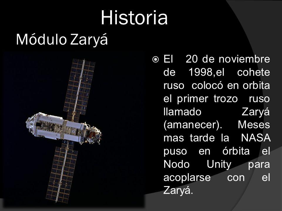 Historia Módulo Zaryá  El 20 de noviembre de 1998,el cohete ruso colocó en orbita el primer trozo ruso llamado Zaryá (amanecer).