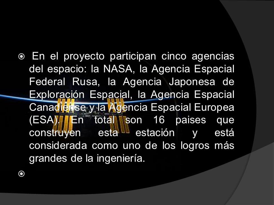 En el proyecto participan cinco agencias del espacio: la NASA, la Agencia Espacial Federal Rusa, la Agencia Japonesa de Exploración Espacial, la Agencia Espacial Canadiense y la Agencia Espacial Europea (ESA).