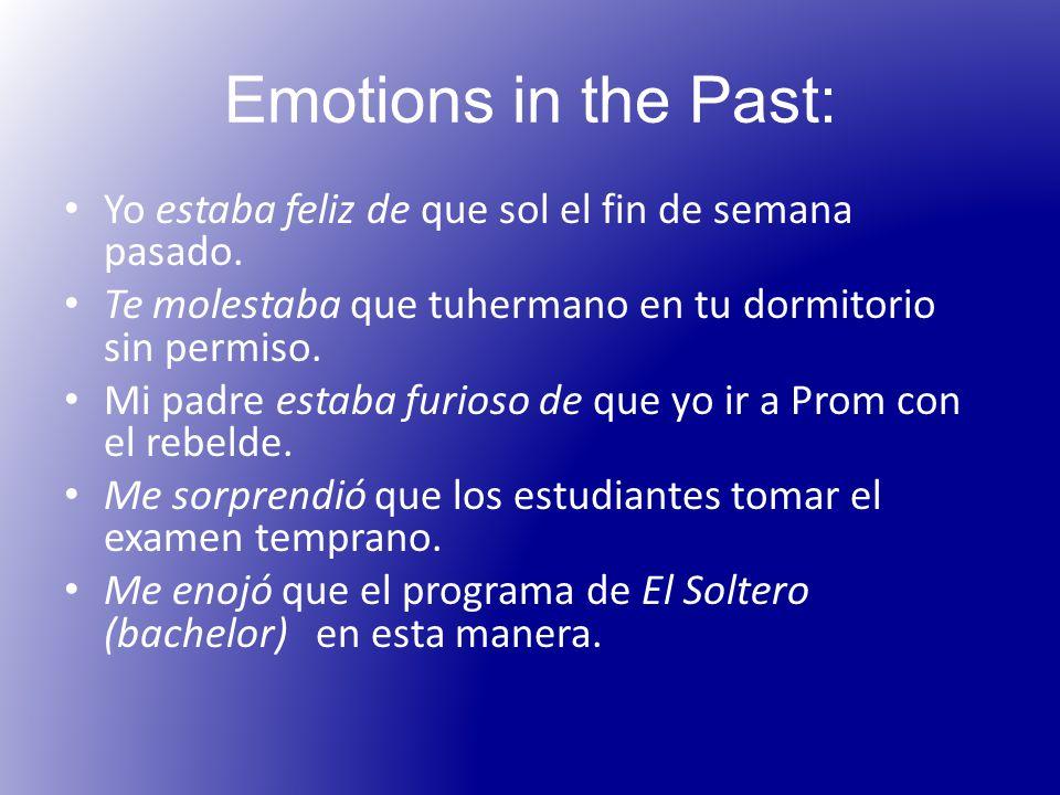Emotions in the Past: Yo estaba feliz de que sol el fin de semana pasado.