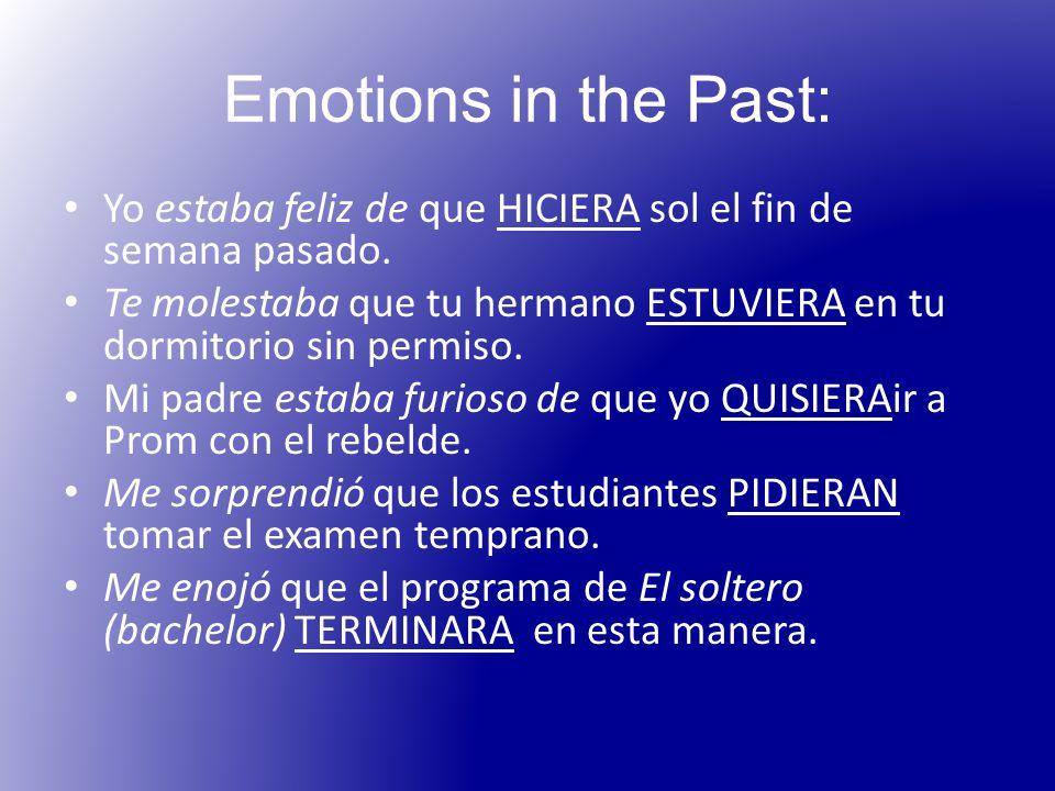 Emotions in the Past: Yo estaba feliz de que HICIERA sol el fin de semana pasado.