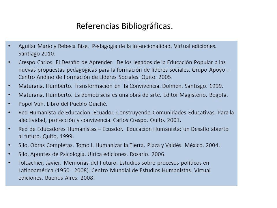 Referencias Bibliográficas. Aguilar Mario y Rebeca Bize.