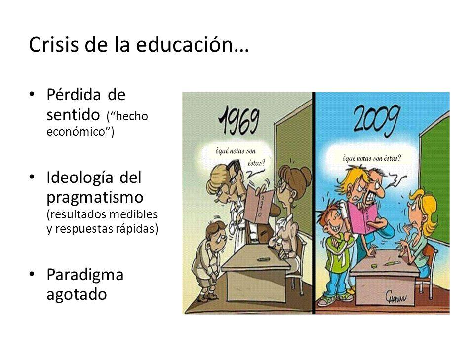 Crisis de la educación… Pérdida de sentido ( hecho económico ) Ideología del pragmatismo (resultados medibles y respuestas rápidas) Paradigma agotado