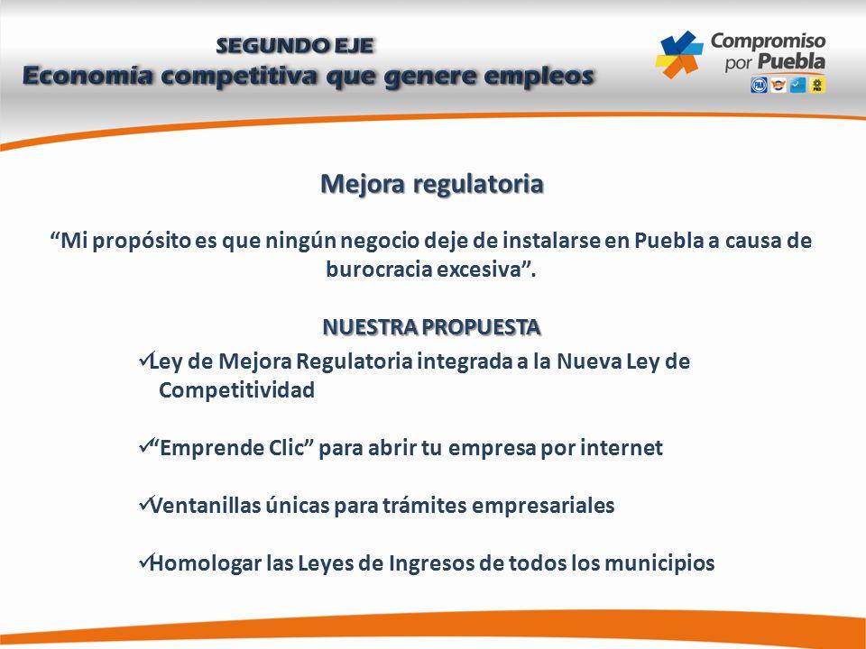Mejora regulatoria Mi propósito es que ningún negocio deje de instalarse en Puebla a causa de burocracia excesiva .
