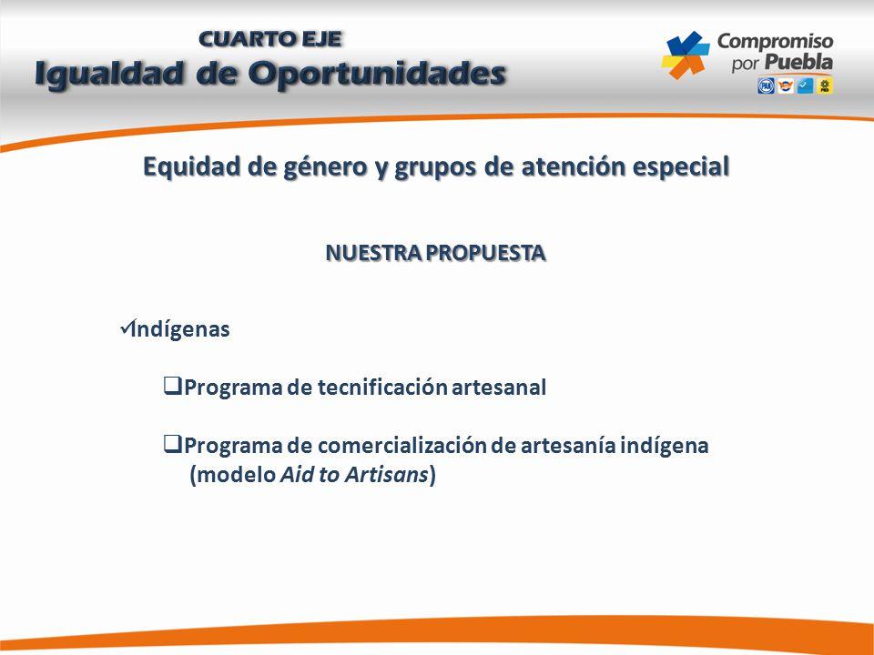 Equidad de género y grupos de atención especial NUESTRA PROPUESTA Indígenas  Programa de tecnificación artesanal  Programa de comercialización de artesanía indígena (modelo Aid to Artisans)