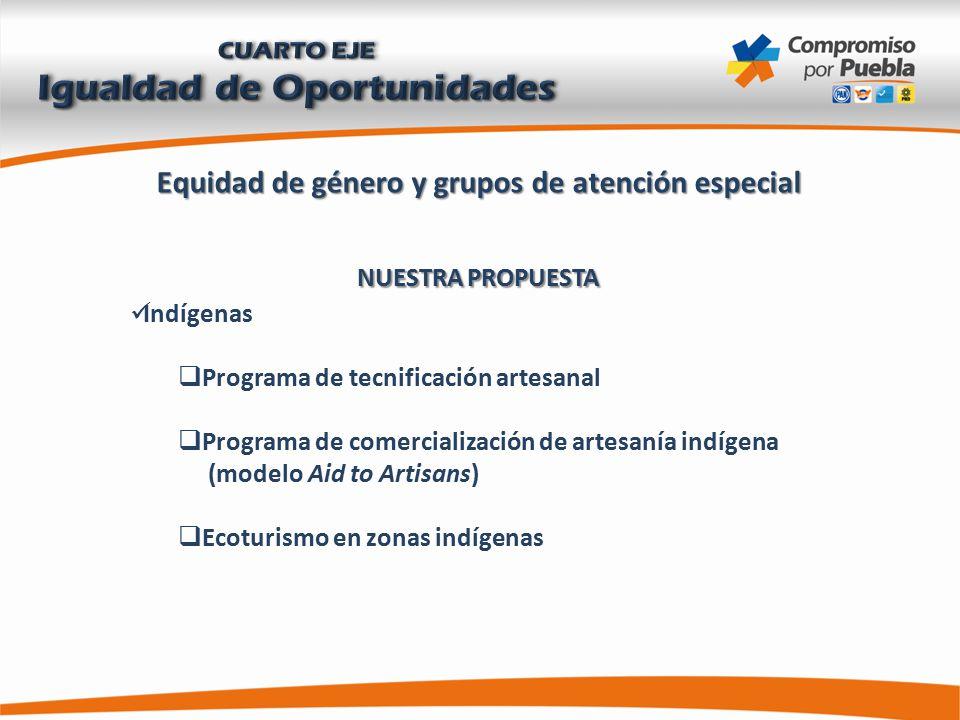 Equidad de género y grupos de atención especial NUESTRA PROPUESTA Indígenas  Programa de tecnificación artesanal  Programa de comercialización de artesanía indígena (modelo Aid to Artisans)  Ecoturismo en zonas indígenas