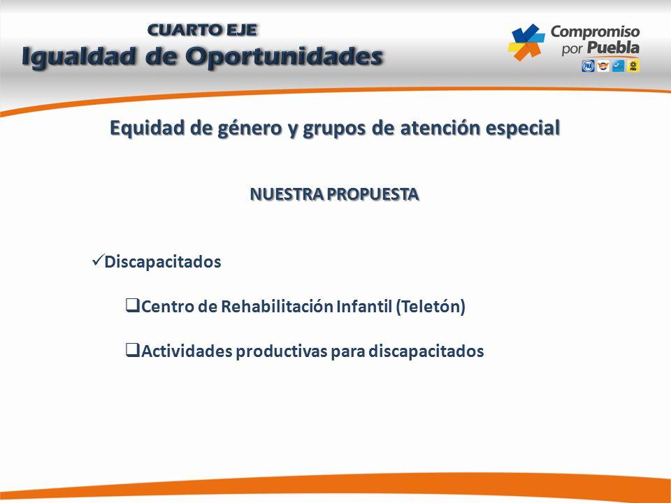 Equidad de género y grupos de atención especial NUESTRA PROPUESTA Discapacitados  Centro de Rehabilitación Infantil (Teletón)  Actividades productivas para discapacitados