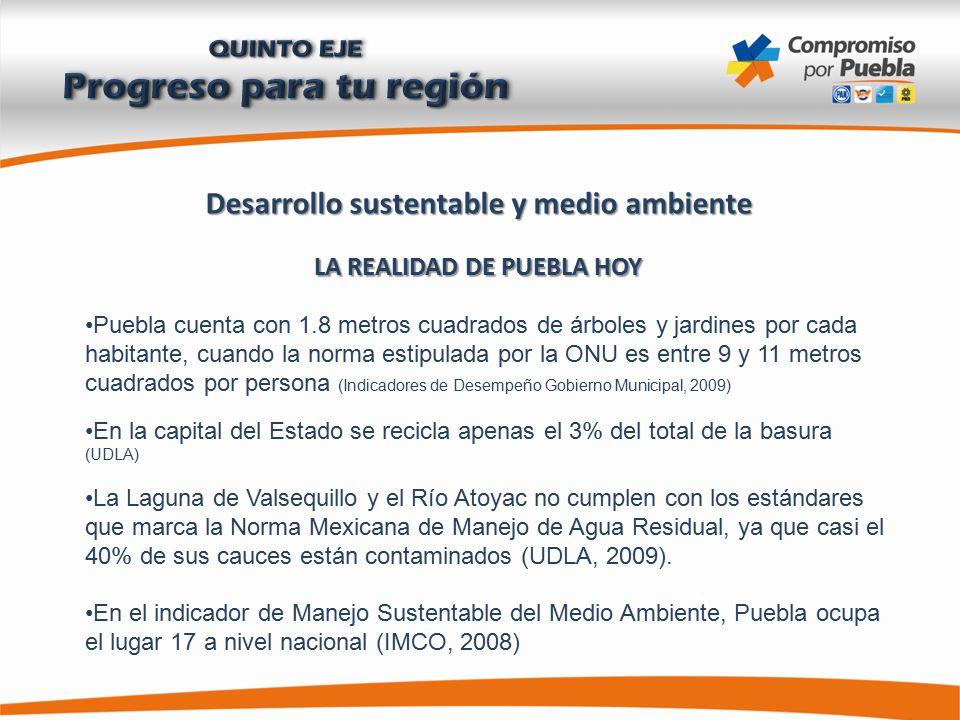 Desarrollo sustentable y medio ambiente LA REALIDAD DE PUEBLA HOY Puebla cuenta con 1.8 metros cuadrados de árboles y jardines por cada habitante, cuando la norma estipulada por la ONU es entre 9 y 11 metros cuadrados por persona (Indicadores de Desempeño Gobierno Municipal, 2009) En la capital del Estado se recicla apenas el 3% del total de la basura (UDLA) La Laguna de Valsequillo y el Río Atoyac no cumplen con los estándares que marca la Norma Mexicana de Manejo de Agua Residual, ya que casi el 40% de sus cauces están contaminados (UDLA, 2009).