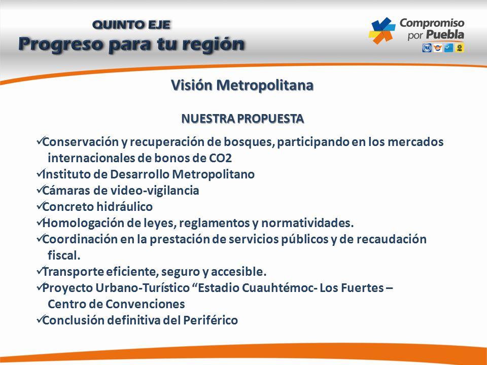 Visión Metropolitana NUESTRA PROPUESTA Conservación y recuperación de bosques, participando en los mercados internacionales de bonos de CO2 Instituto de Desarrollo Metropolitano Cámaras de video-vigilancia Concreto hidráulico Homologación de leyes, reglamentos y normatividades.