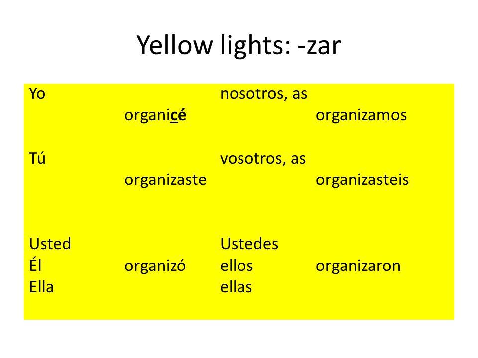 Yellow lights: -zar Yonosotros, as organicéorganizamos Túvosotros, as organizasteorganizasteis UstedUstedes Él organizóellosorganizaron Ellaellas