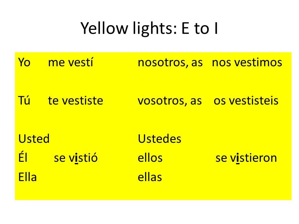 Yellow lights: E to I Yome vestínosotros, as nos vestimos Túte vestistevosotros, as os vestisteis UstedUstedes Él se vistióellos se vistieron Ellaellas