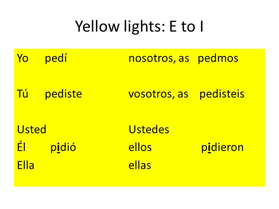 Yellow lights: E to I Yopedínosotros, as pedmos Túpedistevosotros, as pedisteis UstedUstedes Él pidióellos pidieron Ellaellas
