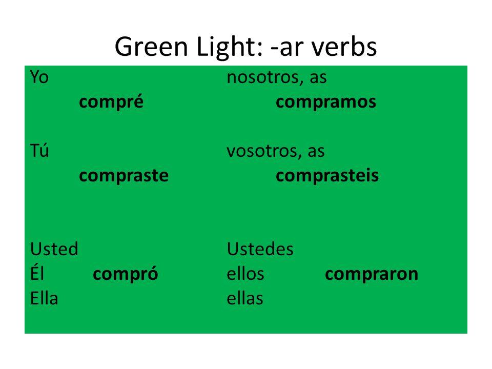 Green Light: -ar verbs Yonosotros, as comprécompramos Túvosotros, as comprastecomprasteis UstedUstedes Él compróelloscompraron Ellaellas