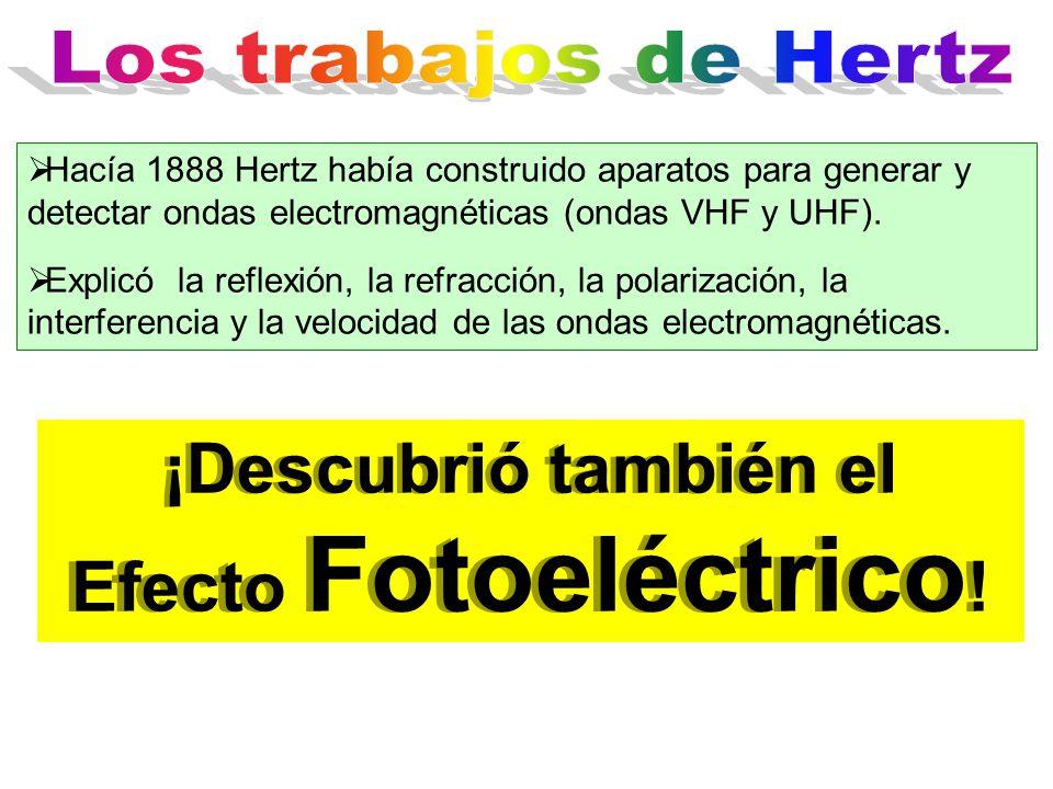  Hacía 1888 Hertz había construido aparatos para generar y detectar ondas electromagnéticas (ondas VHF y UHF).