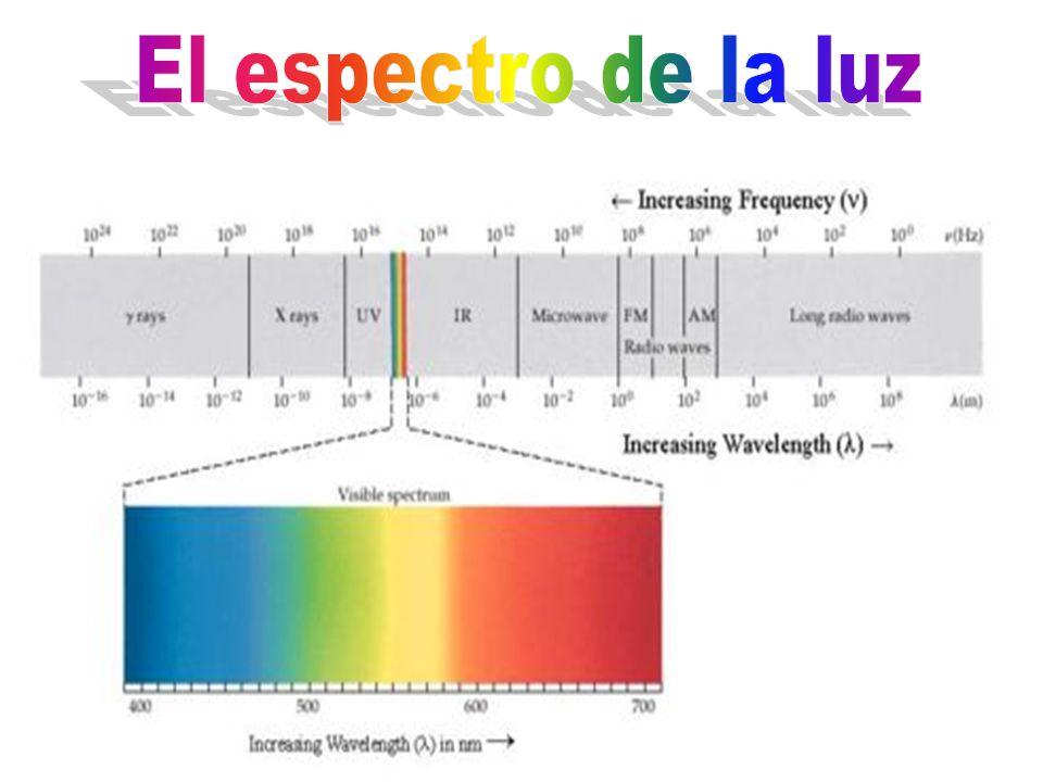 Luz visible Infrarrojo Ultravioleta Rayos X Rayos Gama Microondas Ondas de radio