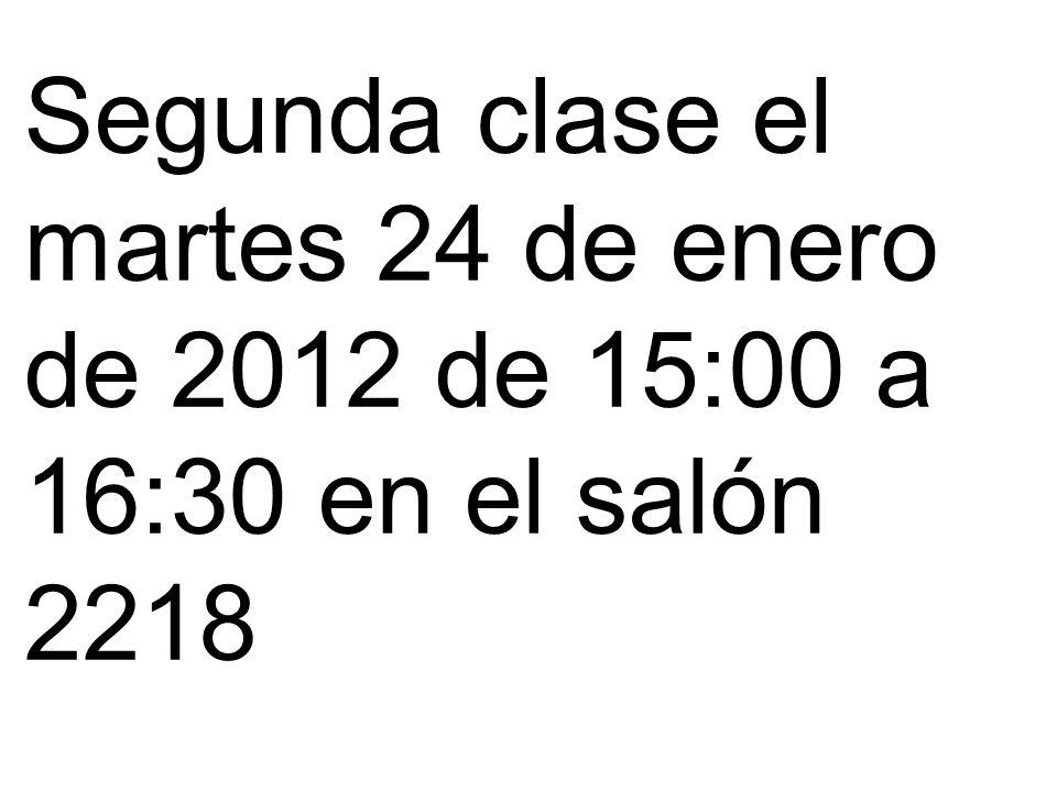 Hasta aquí llegue en la Primera clase el jueves 19 de enero de 2012 de 15:00 a 16:30 en el salón 2218