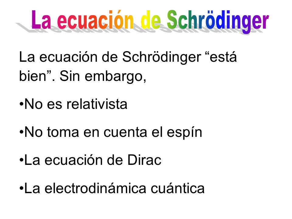 La ecuación de Schrodinger funciona hasta para moléculas complejas.