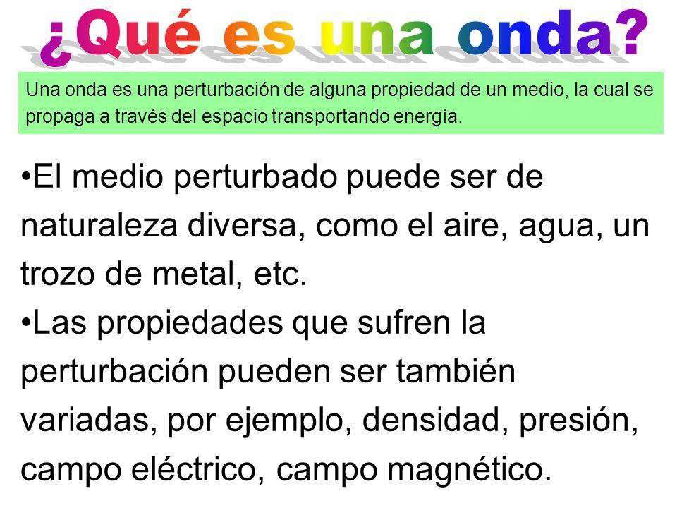 Una onda es una perturbación de alguna propiedad de un medio, la perturbación se propaga a través del espacio transportando energía.