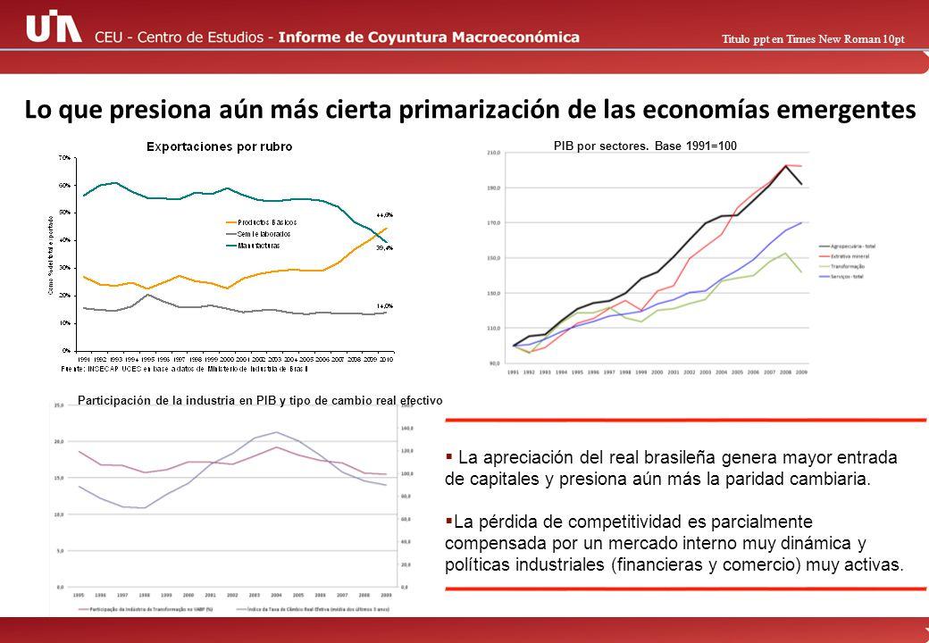 Titulo ppt en Times New Roman 10pt Lo que presiona aún más cierta primarización de las economías emergentes PIB por sectores.