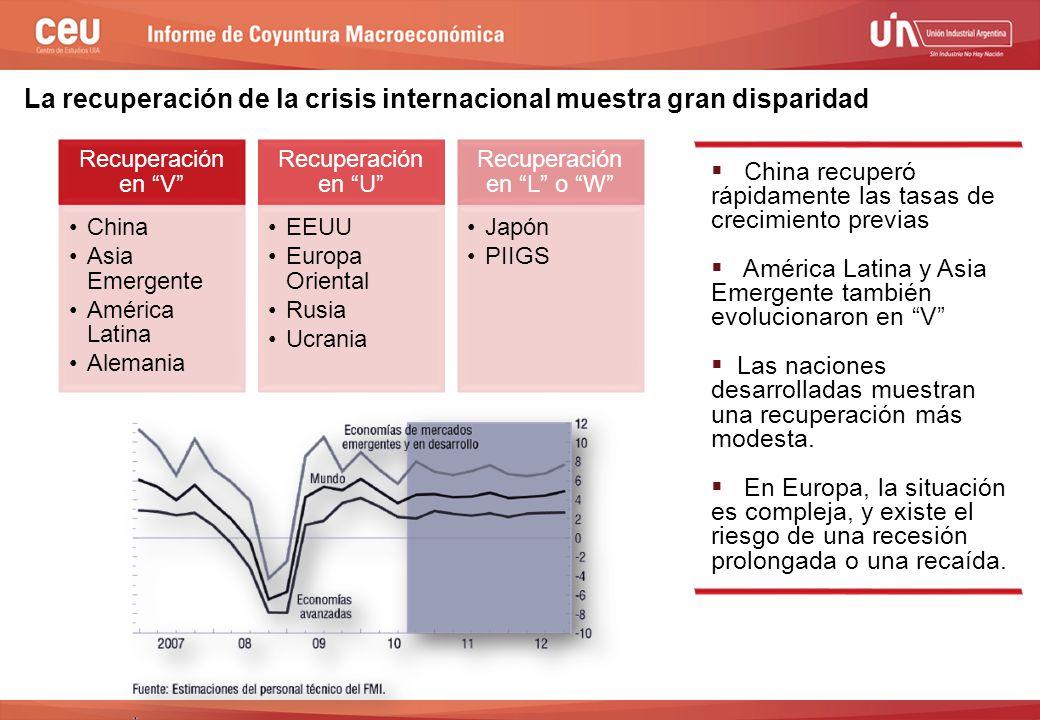 2do semestre de 2009  China recuperó rápidamente las tasas de crecimiento previas  América Latina y Asia Emergente también evolucionaron en V  Las naciones desarrolladas muestran una recuperación más modesta.