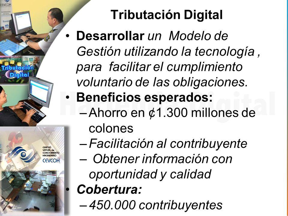 Tributación Digital Desarrollar un Modelo de Gestión utilizando la tecnología, para facilitar el cumplimiento voluntario de las obligaciones.