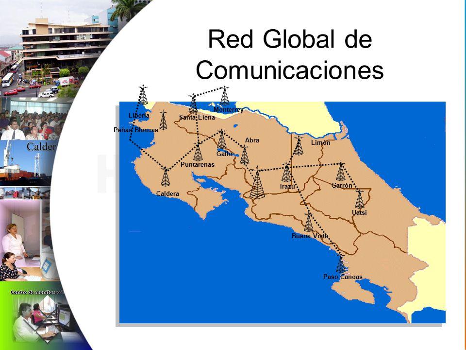 Red Global de Comunicaciones Peñas Blancas Liberia Caldera Santa Elena Puntarenas Gallo Abra Irazú Limón Buena Vista Paso Canoas Garrón Uatsi Monterrey