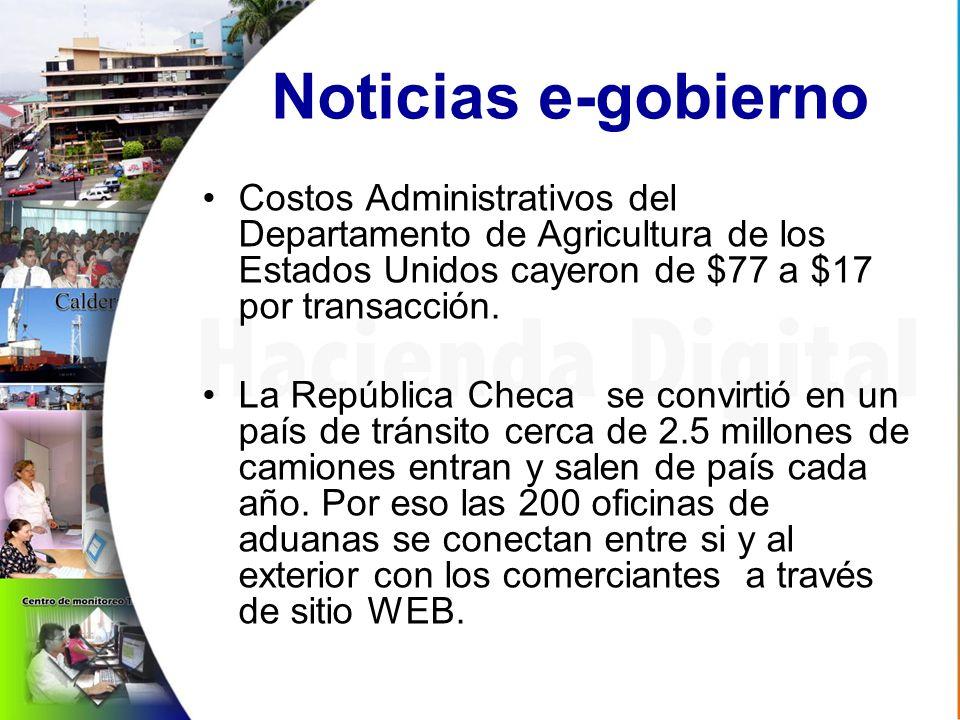 Noticias e-gobierno Costos Administrativos del Departamento de Agricultura de los Estados Unidos cayeron de $77 a $17 por transacción.