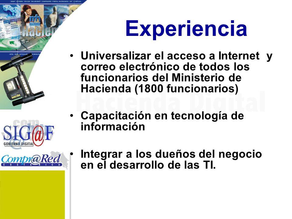 Experiencia Universalizar el acceso a Internet y correo electrónico de todos los funcionarios del Ministerio de Hacienda (1800 funcionarios) Capacitación en tecnología de información Integrar a los dueños del negocio en el desarrollo de las TI.