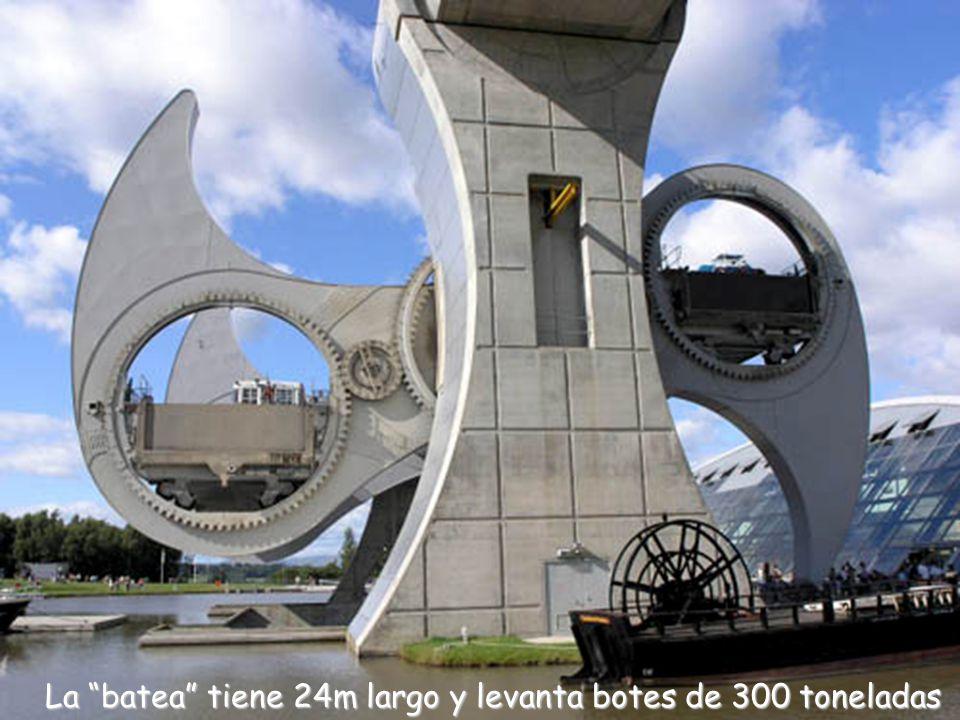 La batea tiene 24m largo y levanta botes de 300 toneladas