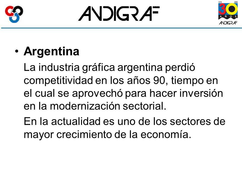 Argentina La industria gráfica argentina perdió competitividad en los años 90, tiempo en el cual se aprovechó para hacer inversión en la modernización sectorial.