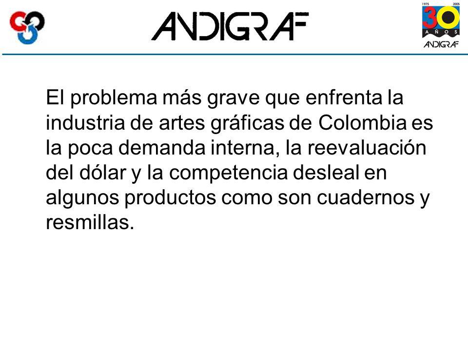 El problema más grave que enfrenta la industria de artes gráficas de Colombia es la poca demanda interna, la reevaluación del dólar y la competencia desleal en algunos productos como son cuadernos y resmillas.