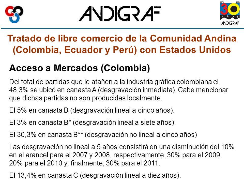 Tratado de libre comercio de la Comunidad Andina (Colombia, Ecuador y Perú) con Estados Unidos Acceso a Mercados (Colombia) Del total de partidas que le atañen a la industria gráfica colombiana el 48,3% se ubicó en canasta A (desgravación inmediata).