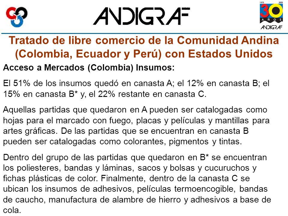 Tratado de libre comercio de la Comunidad Andina (Colombia, Ecuador y Perú) con Estados Unidos Acceso a Mercados (Colombia) Insumos: El 51% de los insumos quedó en canasta A; el 12% en canasta B; el 15% en canasta B* y, el 22% restante en canasta C.