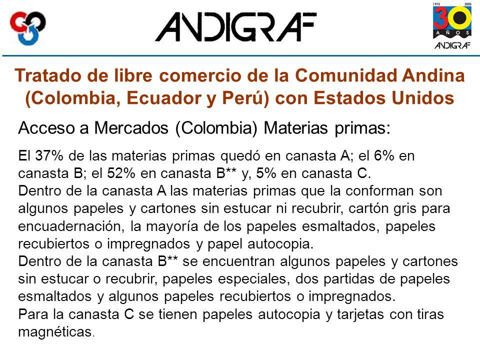 Tratado de libre comercio de la Comunidad Andina (Colombia, Ecuador y Perú) con Estados Unidos Acceso a Mercados (Colombia) Materias primas: El 37% de las materias primas quedó en canasta A; el 6% en canasta B; el 52% en canasta B** y, 5% en canasta C.