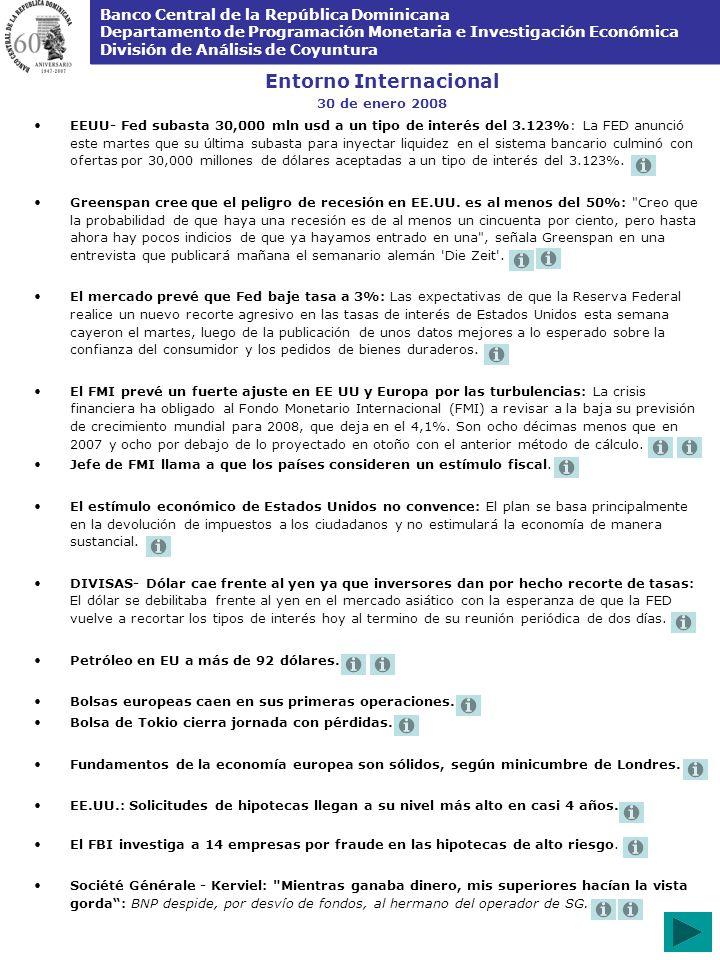 Banco Central de la República Dominicana Departamento de Programación Monetaria e Investigación Económica División de Análisis de Coyuntura Entorno Internacional 30 de enero 2008 EEUU- Fed subasta 30,000 mln usd a un tipo de interés del 3.123%: La FED anunció este martes que su última subasta para inyectar liquidez en el sistema bancario culminó con ofertas por 30,000 millones de dólares aceptadas a un tipo de interés del 3.123%.