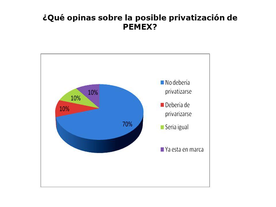 ¿Qué opinas sobre la posible privatización de PEMEX