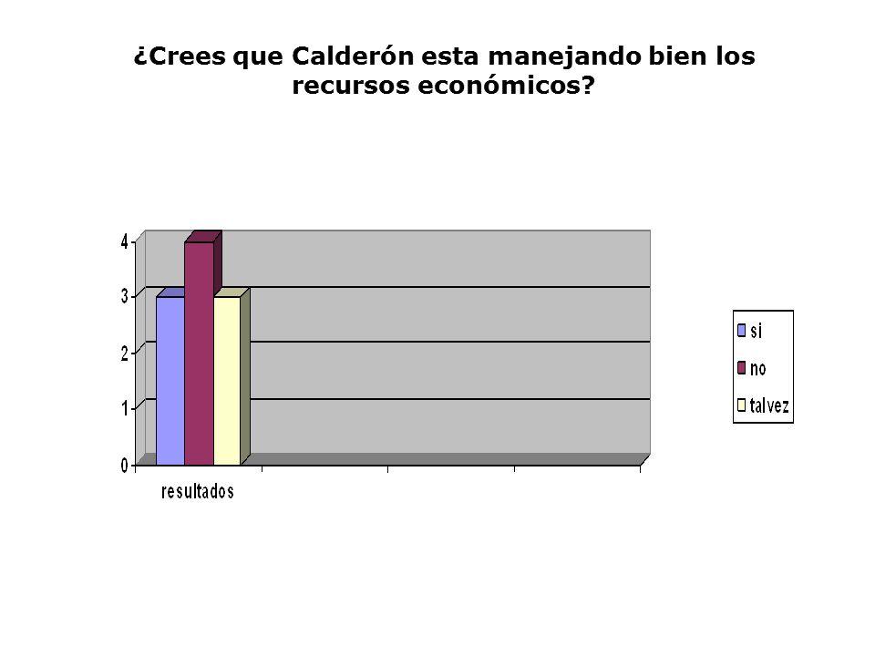 ¿Crees que Calderón esta manejando bien los recursos económicos
