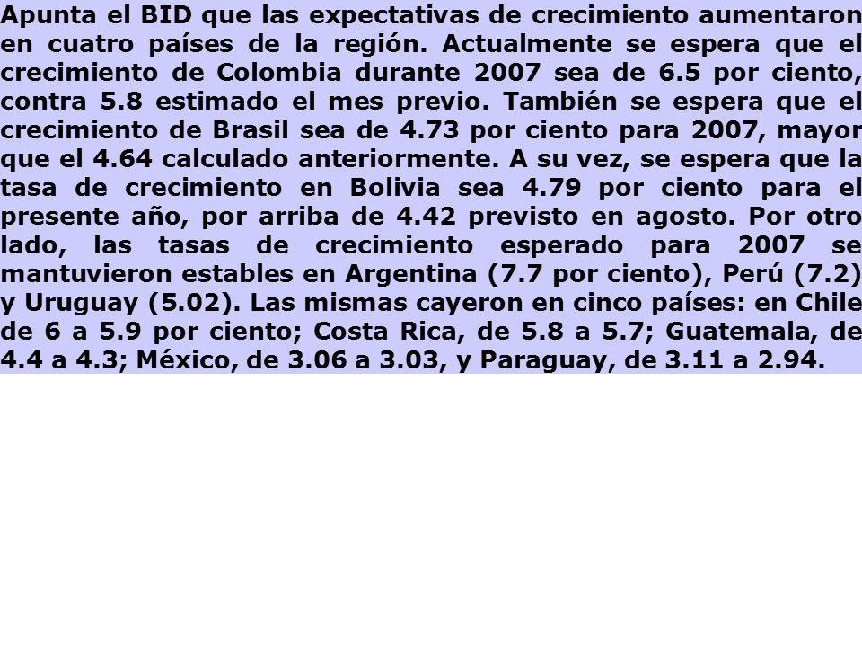 Apunta el BID que las expectativas de crecimiento aumentaron en cuatro países de la región.