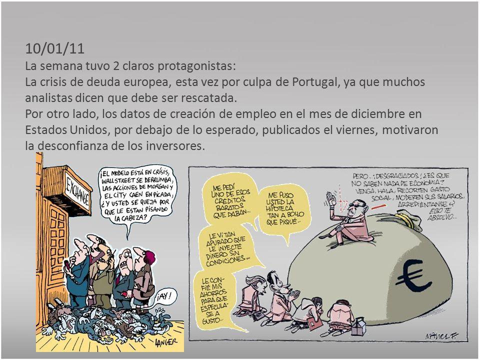 10/01/11 La semana tuvo 2 claros protagonistas: La crisis de deuda europea, esta vez por culpa de Portugal, ya que muchos analistas dicen que debe ser rescatada.