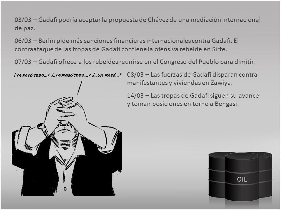 03/03 – Gadafi podría aceptar la propuesta de Chávez de una mediación internacional de paz.