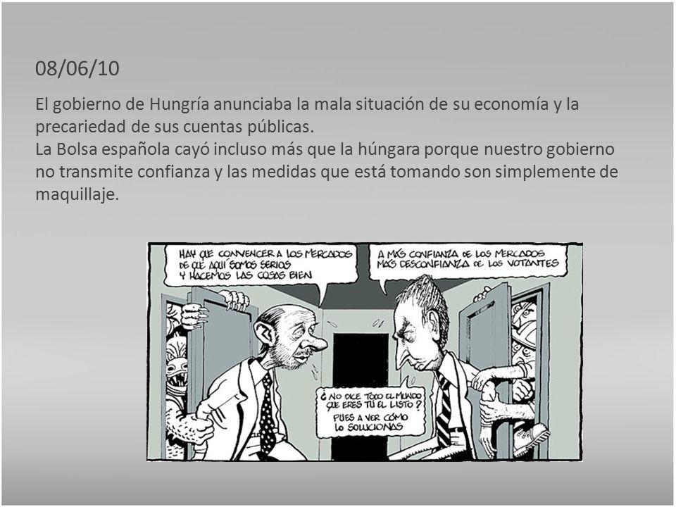 08/06/10 El gobierno de Hungría anunciaba la mala situación de su economía y la precariedad de sus cuentas públicas.