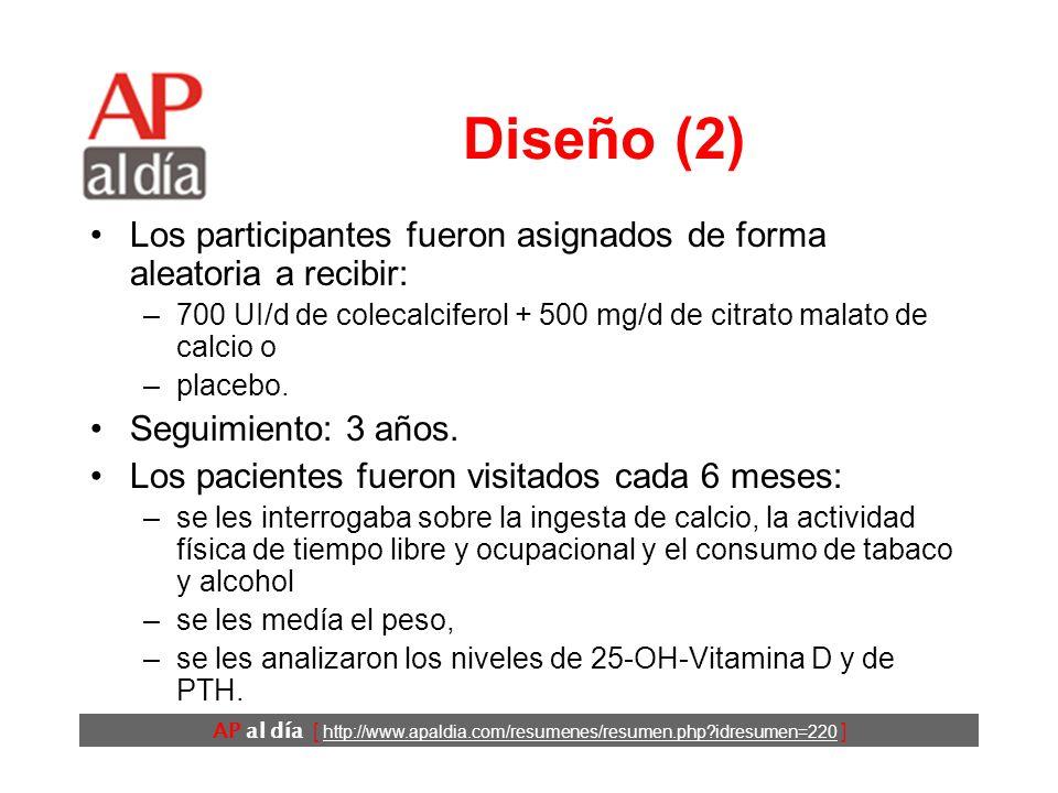 AP al día [ http://www.apaldia.com/resumenes/resumen.php idresumen=220 ] Diseño (1) Ensayo clínico controlado.