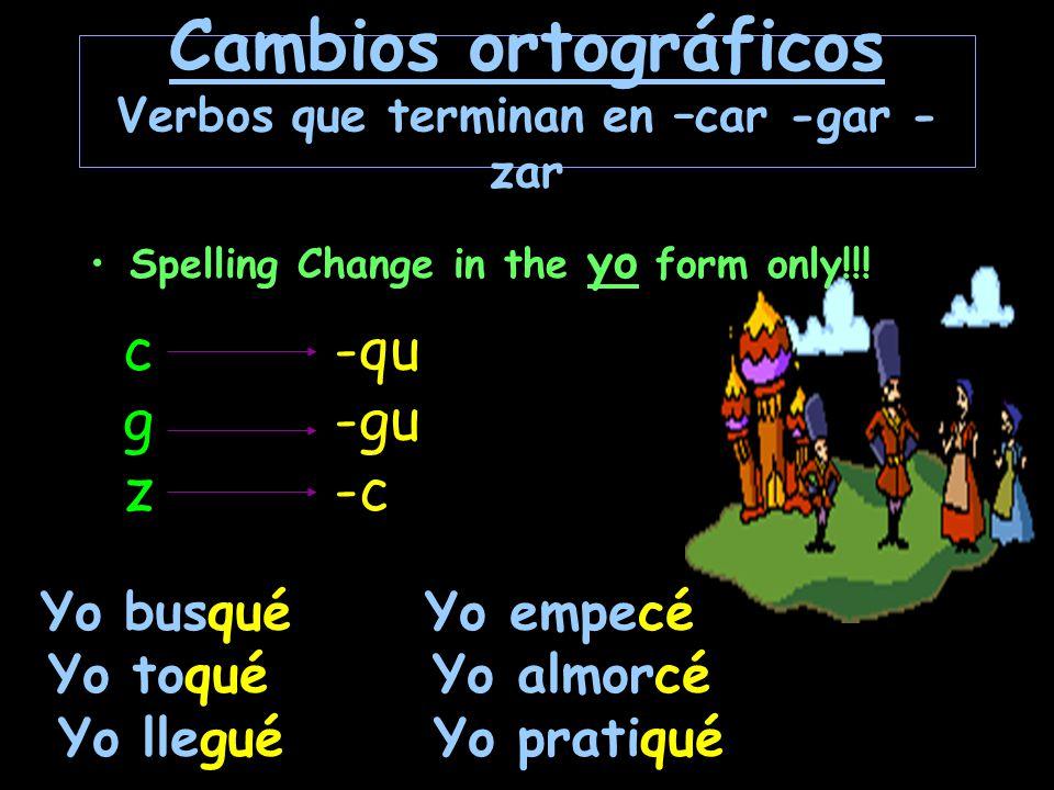 Cambios ortográficos Ciertos verbos terminados en –er e – ir que terminan en una vocal cambian la i en y en las terminaciones de tercera persona del singular y del plural  IY in the él and ellos forms only.