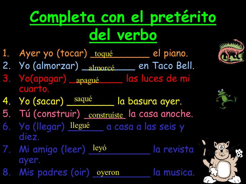 Cambios ortográficos Verbos que terminan en –car -gar - zar Spelling Change in the yo form only!!.