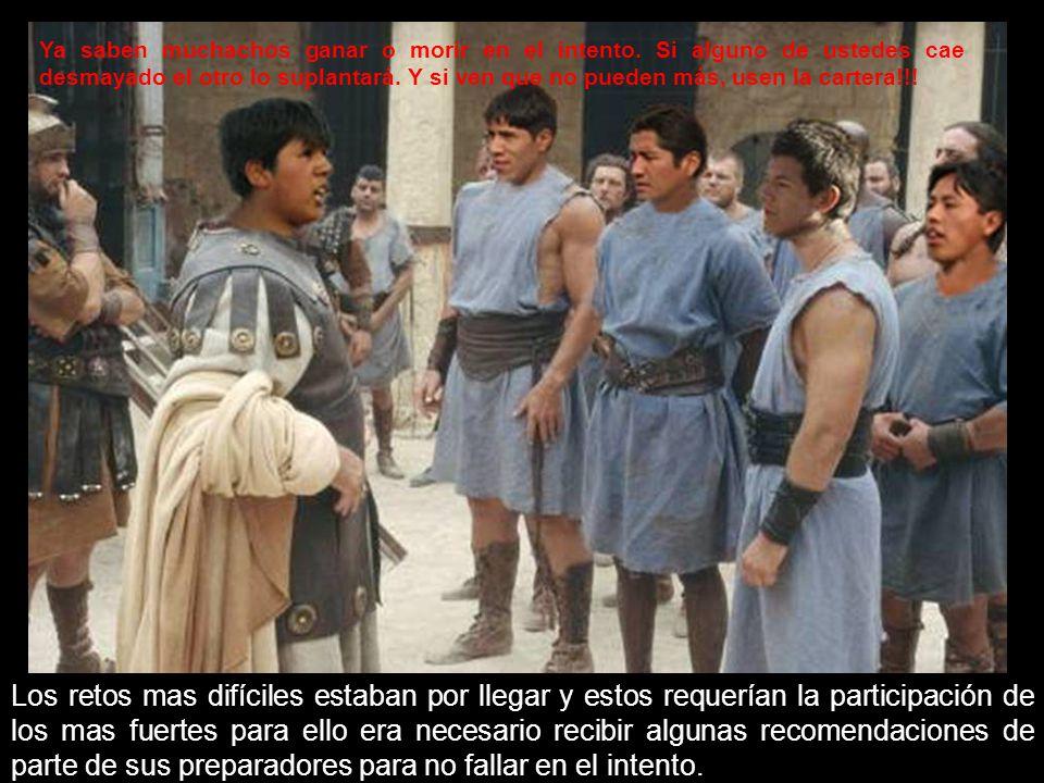 La siguiente prueba era la de resistencia a 3000 latigazos, quien se quejaba perdía … Sólo los valientes podían soportar!!.