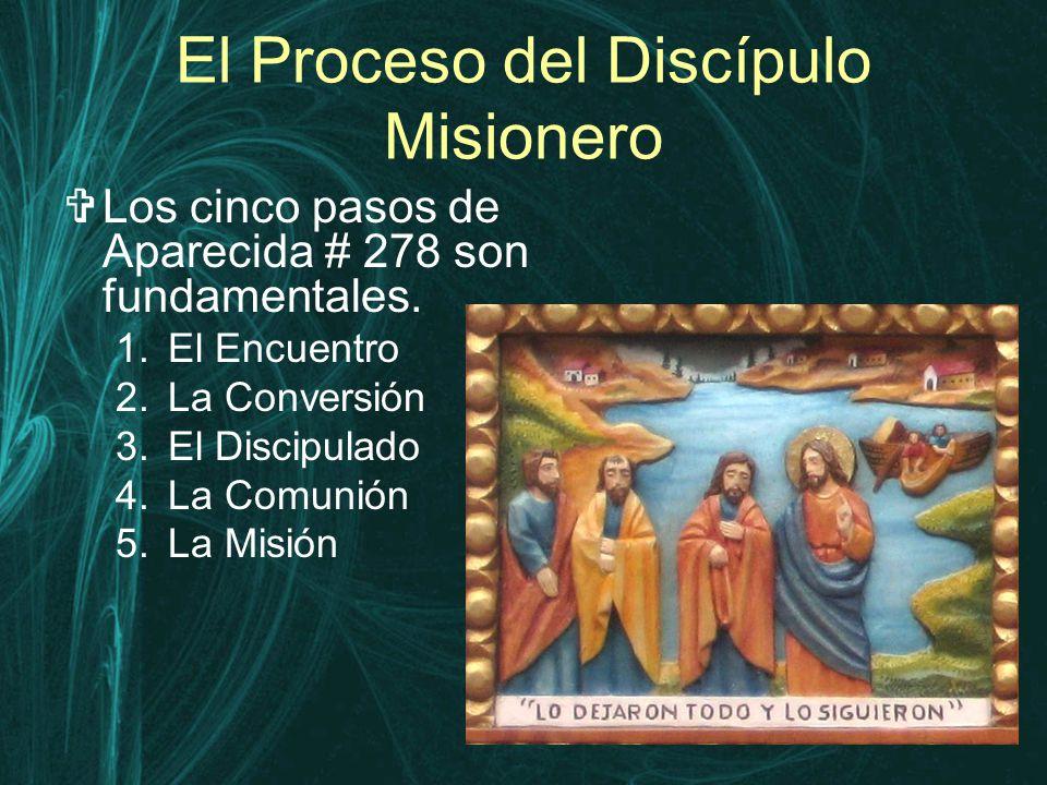 El Proceso del Discípulo Misionero  Los cinco pasos de Aparecida # 278 son fundamentales.